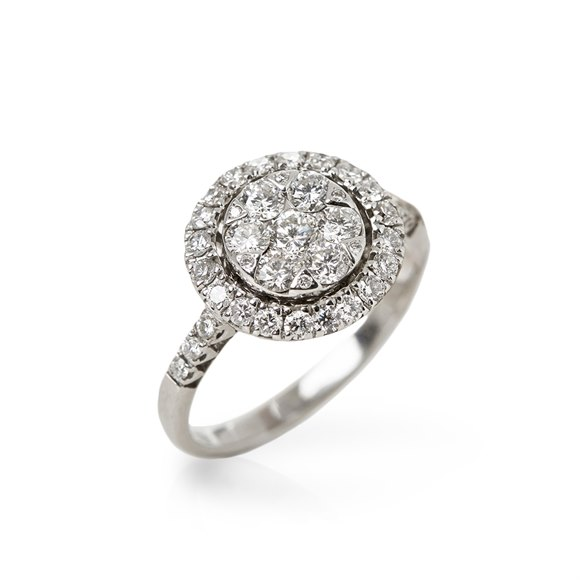 Mappin & Webb 18k White Gold Diamond Cluster Ring