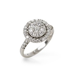 Mappin & Webb 18k White Gold Diamond Cluster Ring