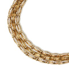 Tiffany & Co. 18k Yellow Gold Diamond Three Strand Necklace