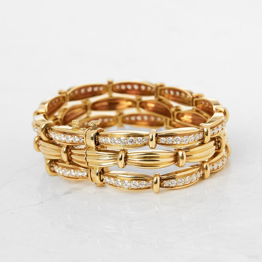 Tiffany & Co. 18k Yellow Gold Diamond Three Strand Vintage Bracelet