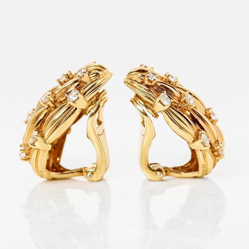 Tiffany & Co. 18k Yellow Gold Diamond Five Strand Vintage Earrings