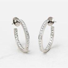 Cartier 18k White Gold Diamond Inside Out Hoop Earrings