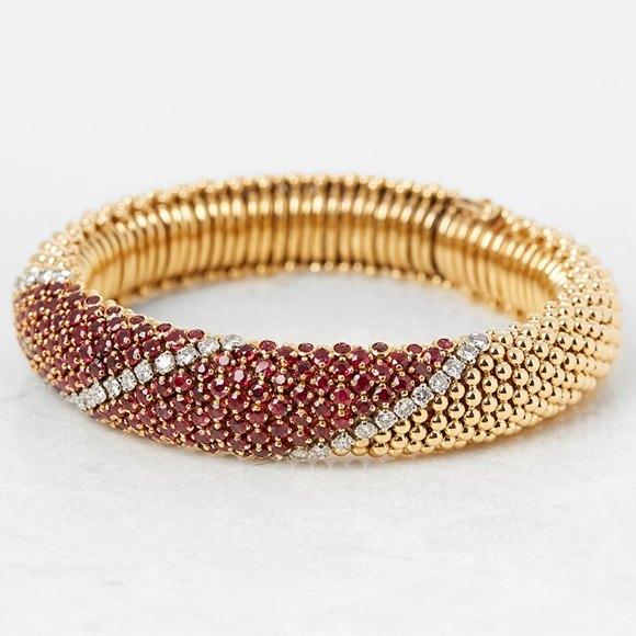 Van Cleef & Arpels 18k Yellow Gold Ruby & Diamond Vintage Bracelet