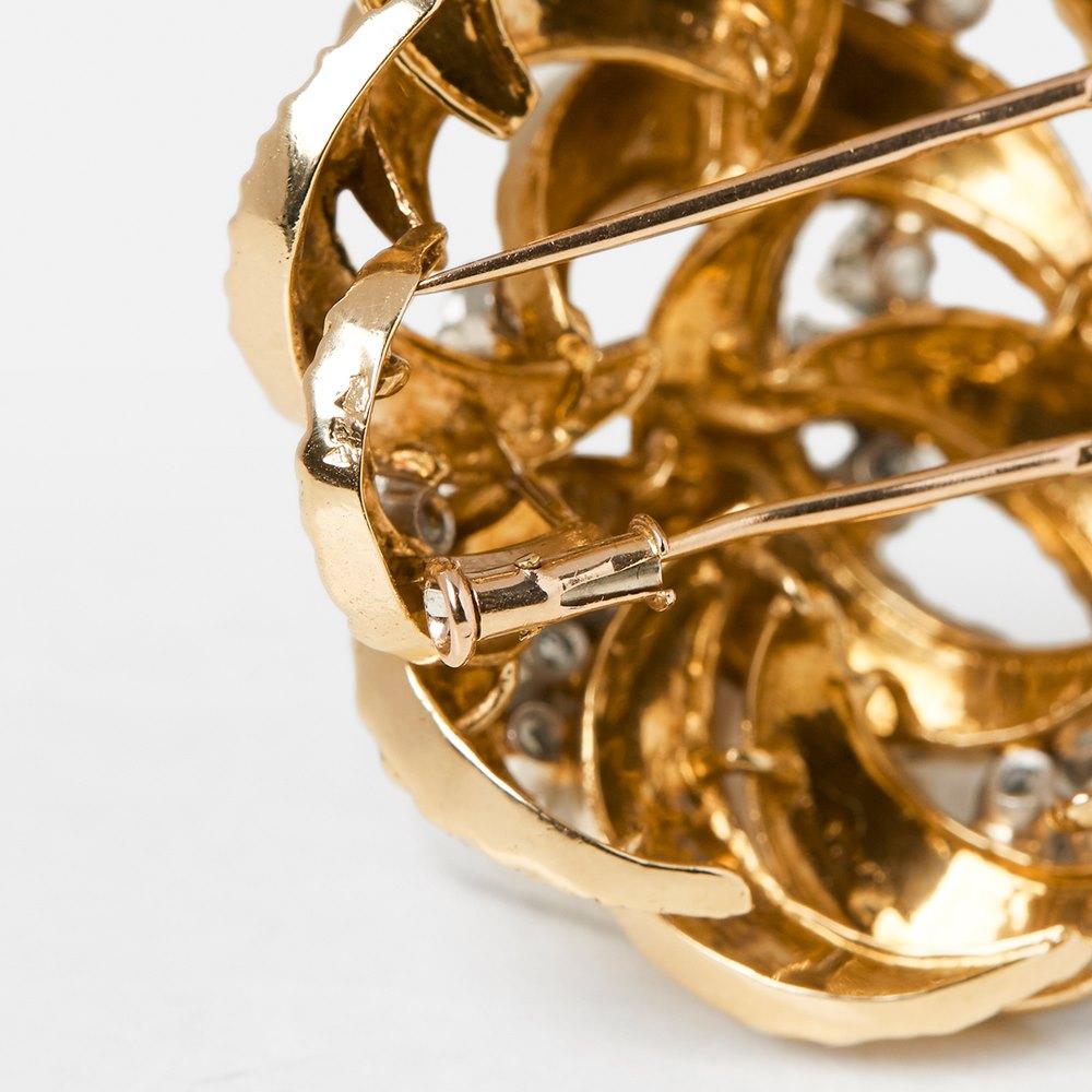 Boucheron 18k Yellow Gold Diamond Flower Brooch