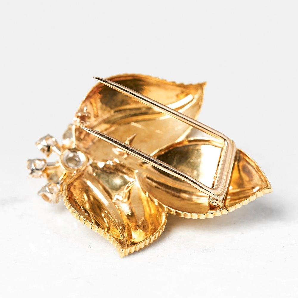 Cartier 18k Yellow Gold Diamond Vintage Leaf Brooch