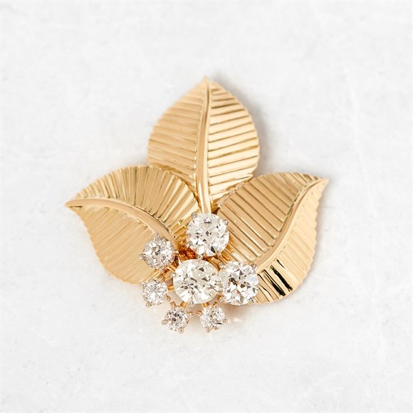 Cartier 18k Yellow Gold Diamond Vintage Leaf Brooch
