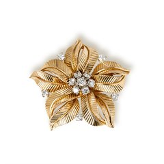 Cartier 18k Yellow Gold 1.09ct Diamond Flower Brooch
