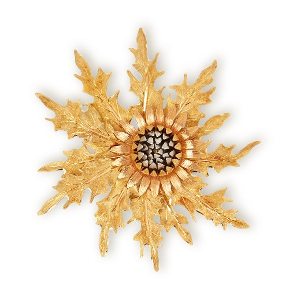 Buccellati 18k Yellow, White & Rose Gold Thistle Brooch