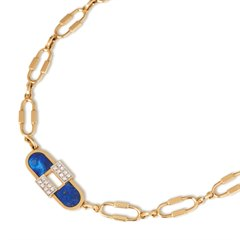 Cartier 18k Yellow Gold Lapis Lazuli & Diamond Necklace