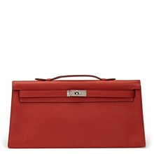 Hermès Rouge Garance Swift Leather Kelly Longue Clutch