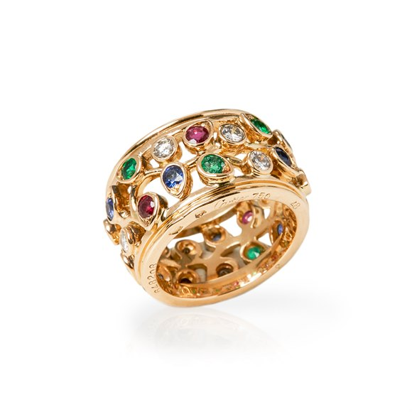 Cartier 18k Yellow Gold Multi-Gem Ring