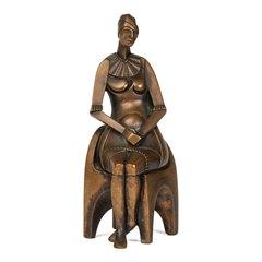 MALCOLM WOODWARD GIRL ON A CHAIR PATINATED BRONZE 1988