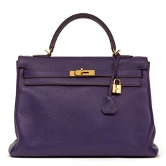 Hermès Violet Togo Leather Kelly 35cm Retourne