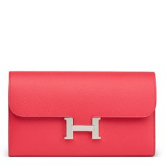 Hermès Rose Extreme Epsom Leather Constance Long Wallet