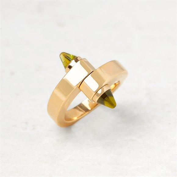 Cartier 18k Yellow Gold Peridot Menotte Ring