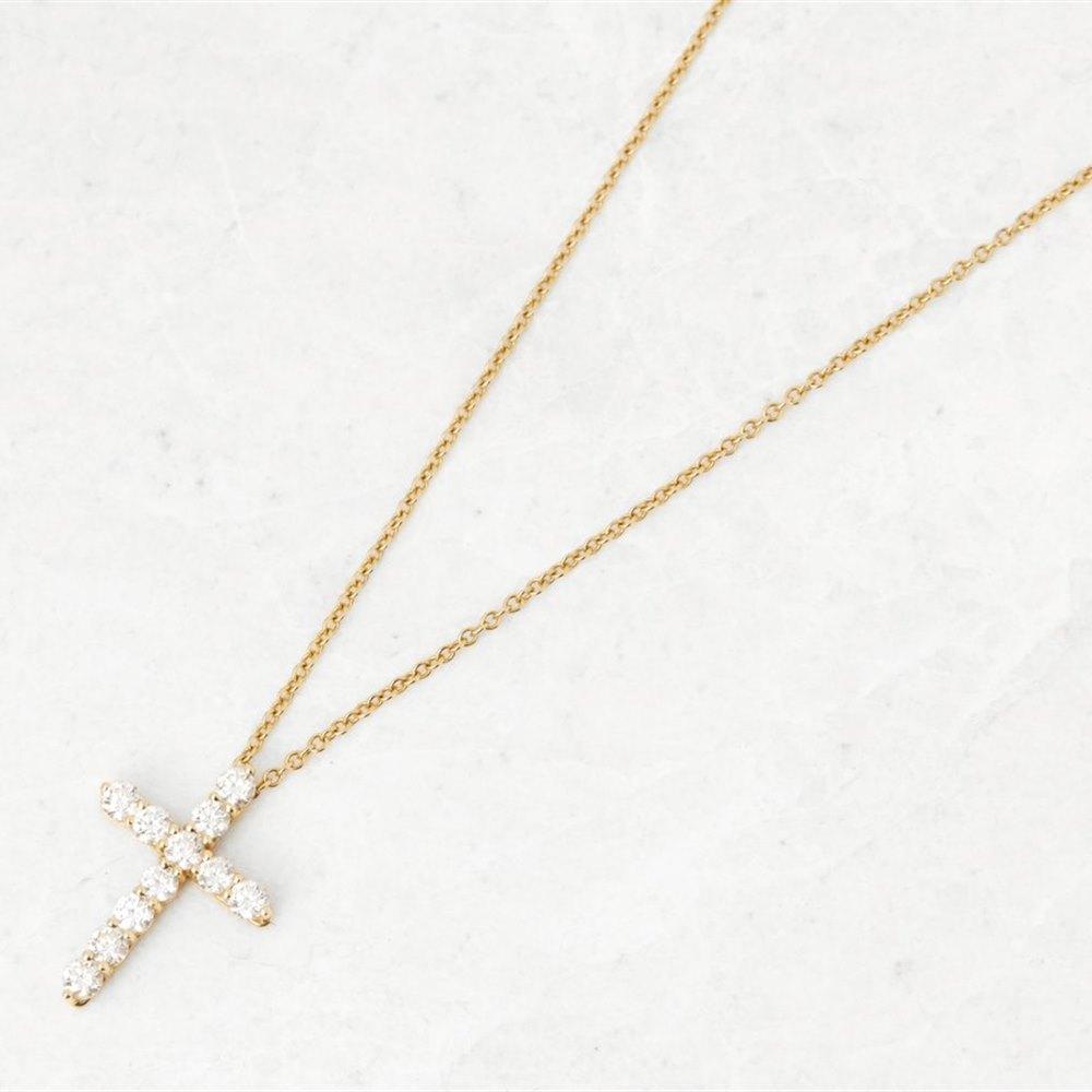 Tiffany & Co. 18k Yellow Gold Diamond Cross Necklace