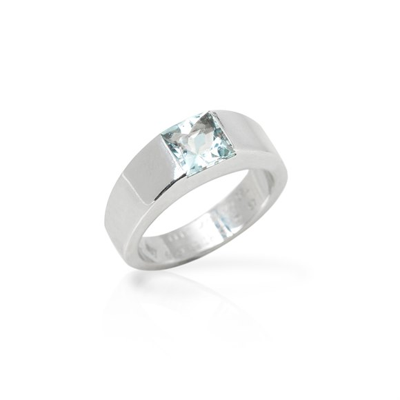 Cartier 18k White Gold Aquamarine Tank Ring