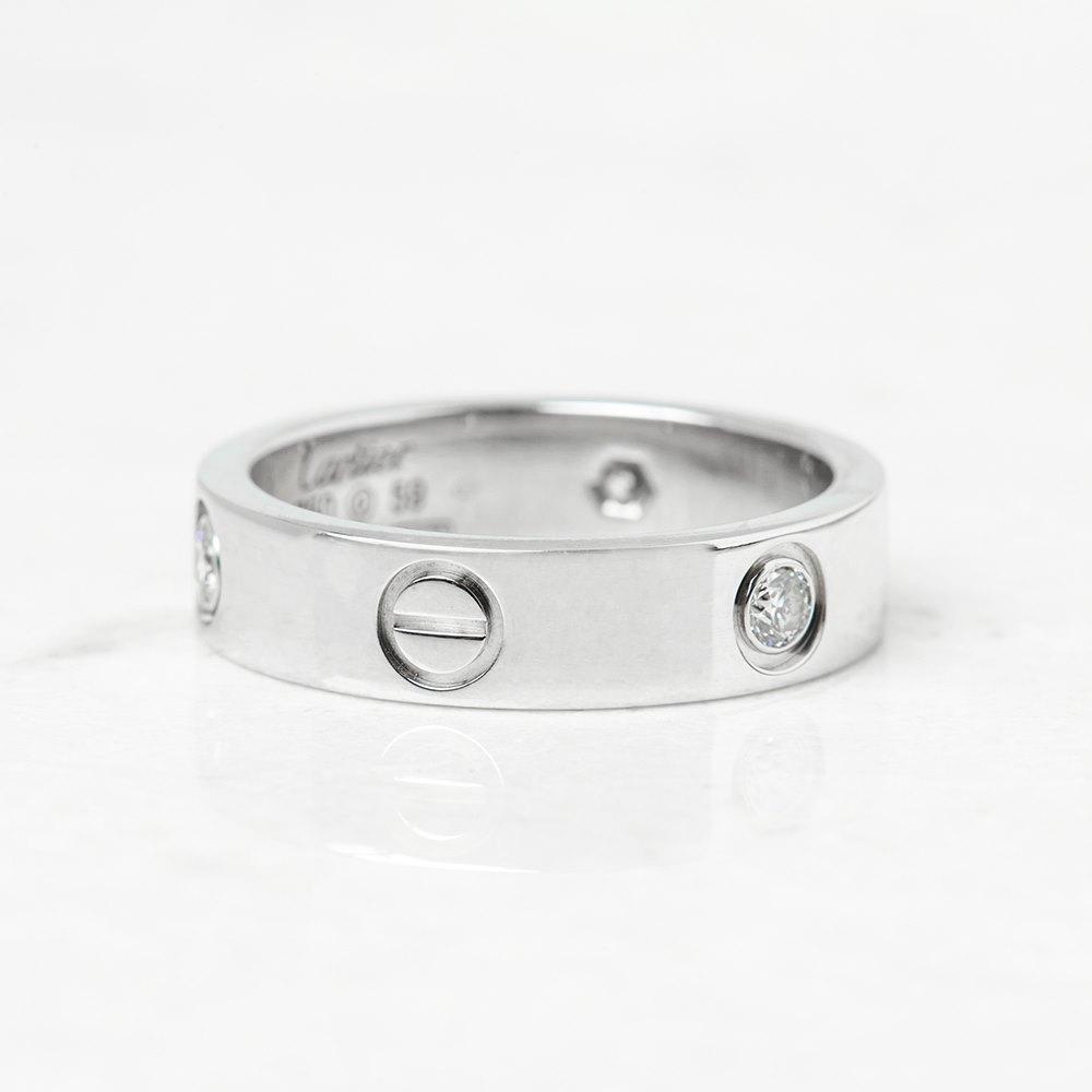 Cartier 18k White Gold 3 Diamond Love Ring