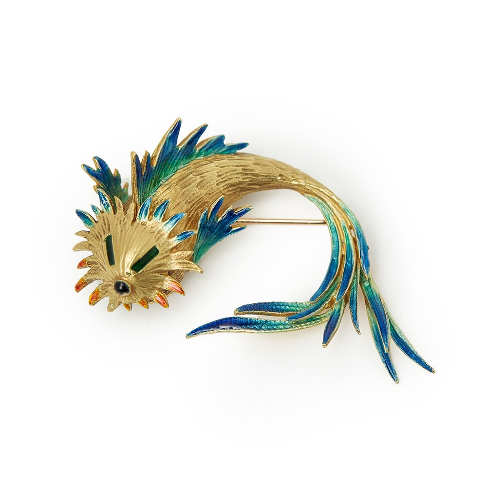Cartier 18k Yellow Gold Enamel Fish Pin Brooch