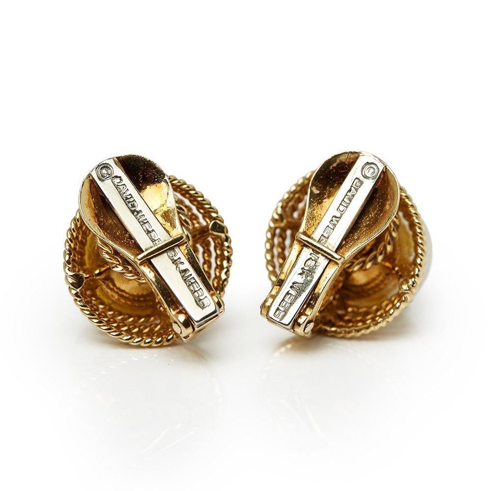 David Webb 18k Yellow Gold Pearl Earrings