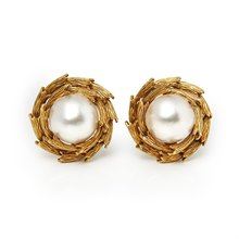 Tiffany & Co. 18k Yellow Gold Mabe Pearl Earrings