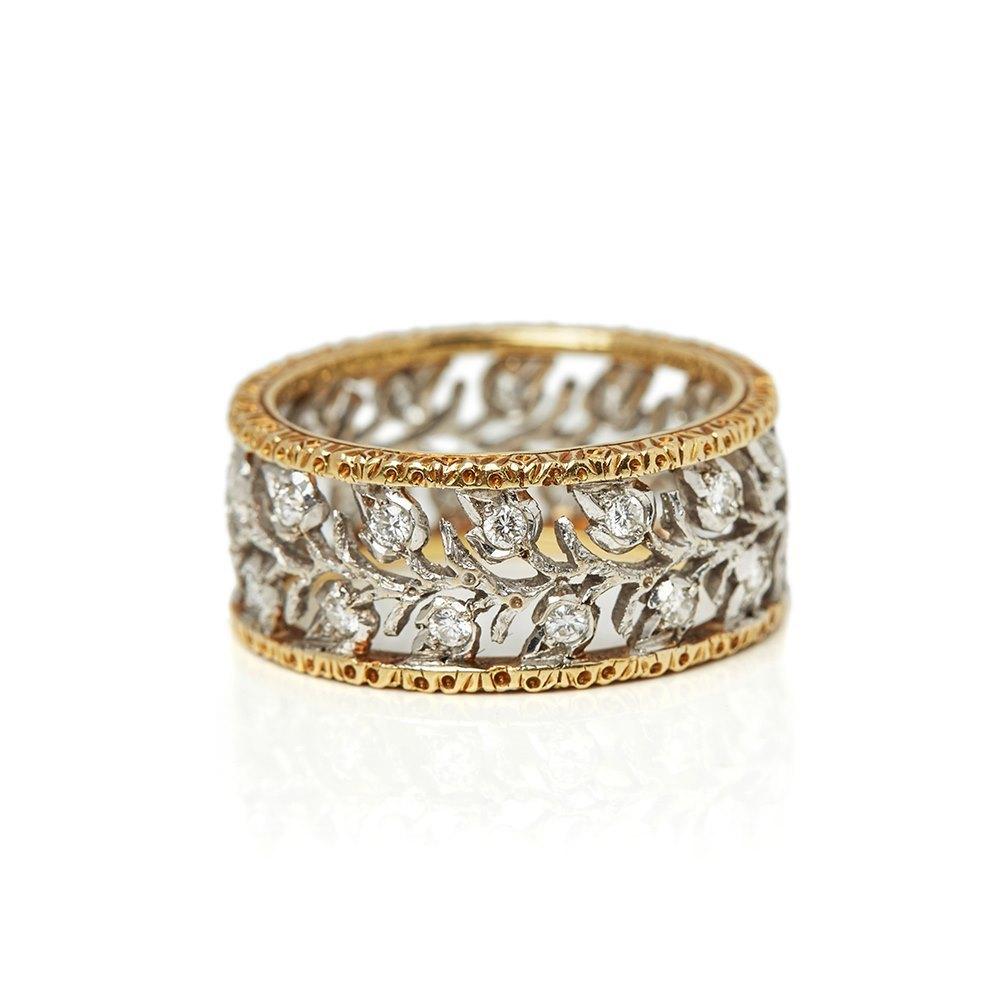 Buccellati 18k White & Yellow Gold Diamond Ramage Eternelle Ring
