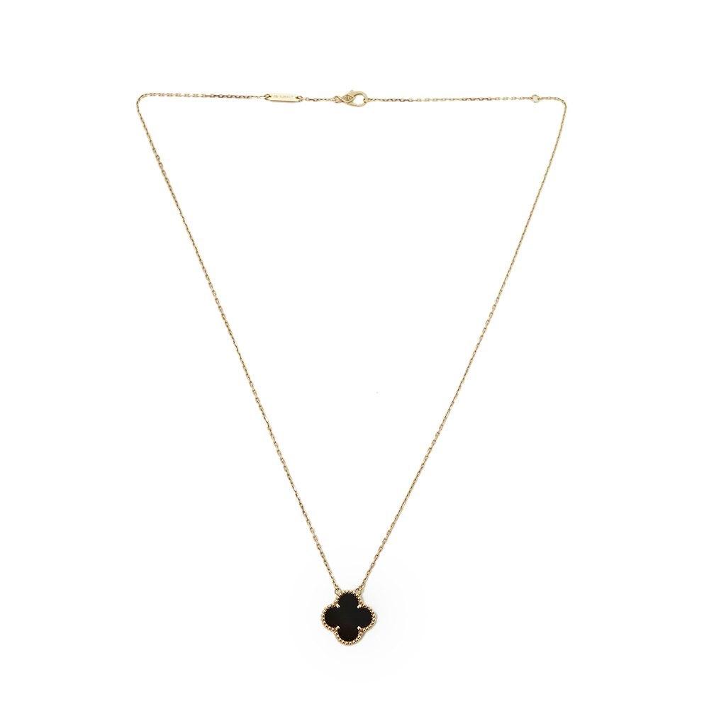 Van Cleef & Arpels 18k Yellow Gold Onyx Alhambra Necklace