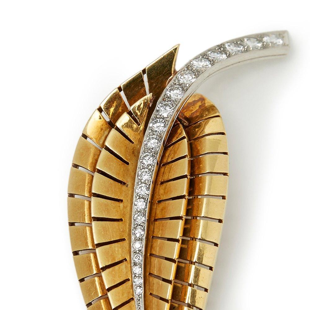 Van Cleef & Arpels 18k Yellow Gold Diamond Vintage Brooch