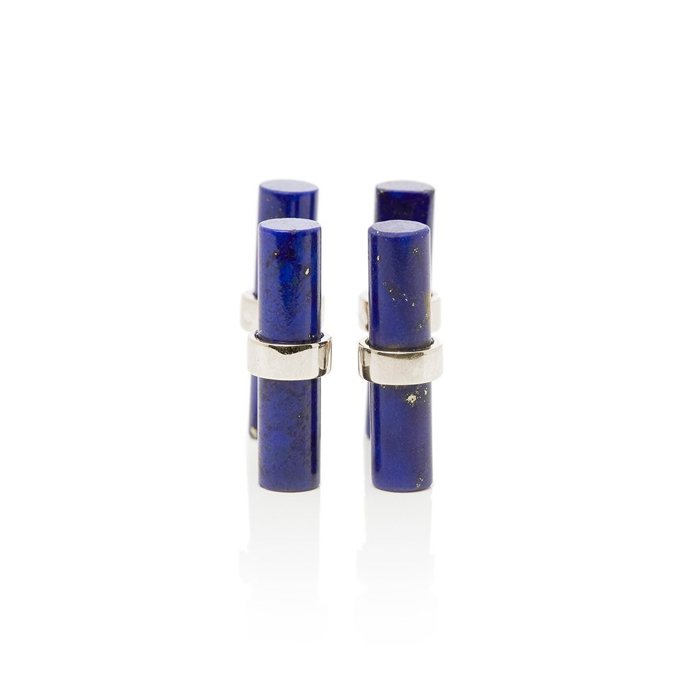 Cartier 18k White Gold Lapis Lazuli Baton Cufflinks