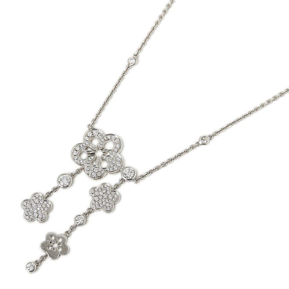 Boodles 18k White Gold Diamond Blossom Necklace