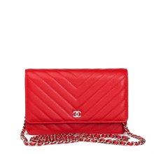 Chanel Red Chevron Quilted Caviar Leather Wallet-On-Chain WOC