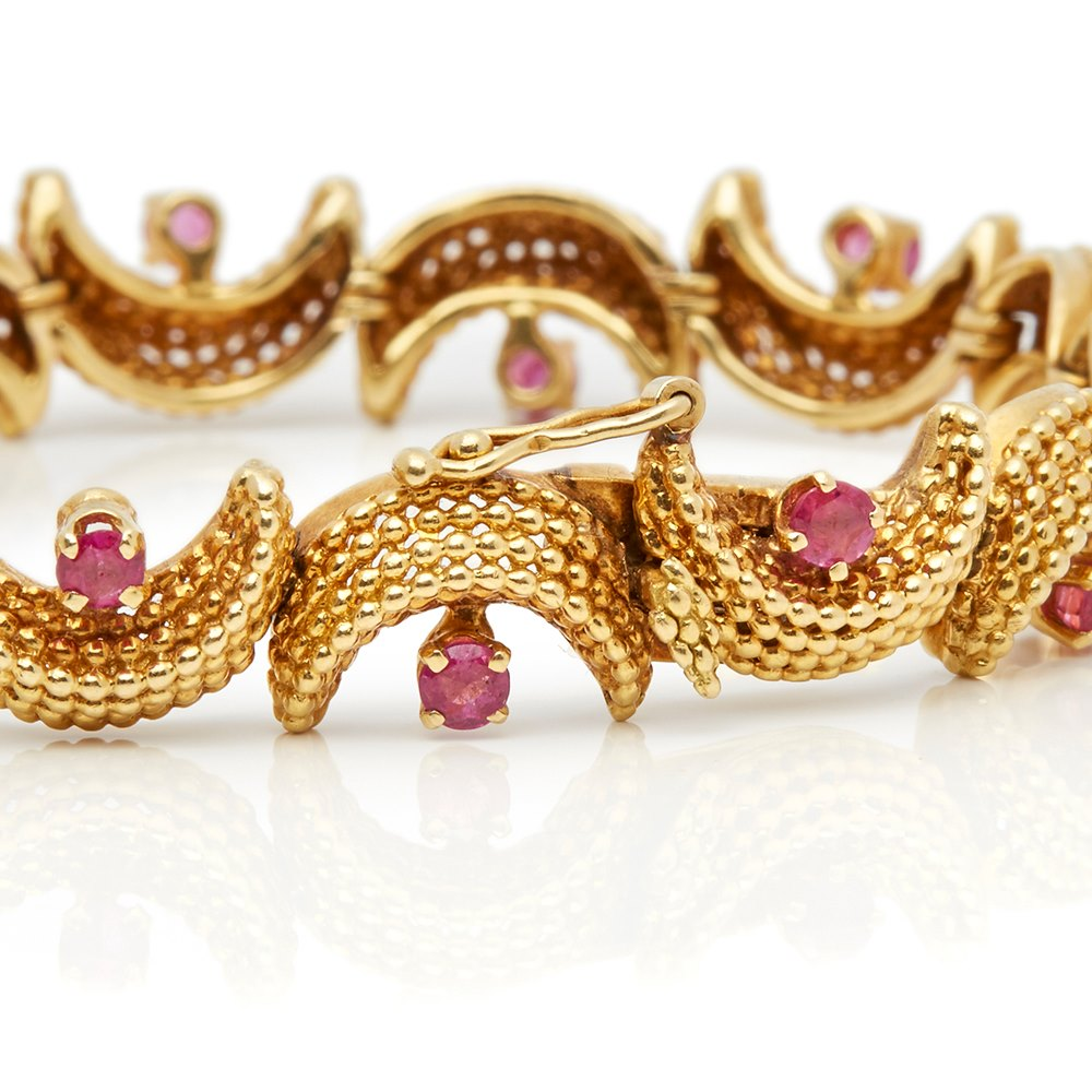 Tiffany & Co. 18k Yellow Gold Ruby Vintage Bracelet