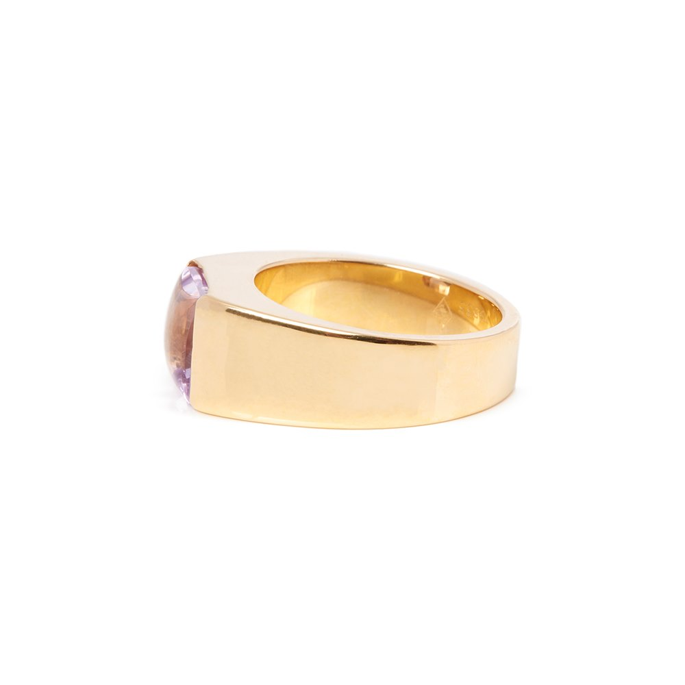 Cartier 18k Yellow Gold Amethyst Tank Ring