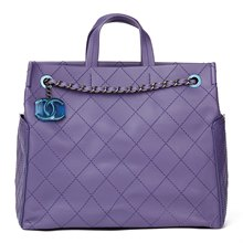 Chanel Purple Quilted Calfskin Leather Timeless Shoulder Tote
