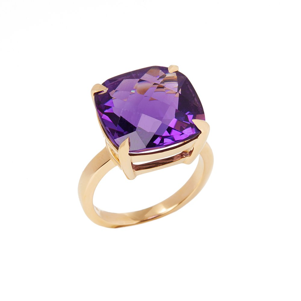 Tiffany & Co. 18k Yellow Gold Amethyst Sparkler Ring