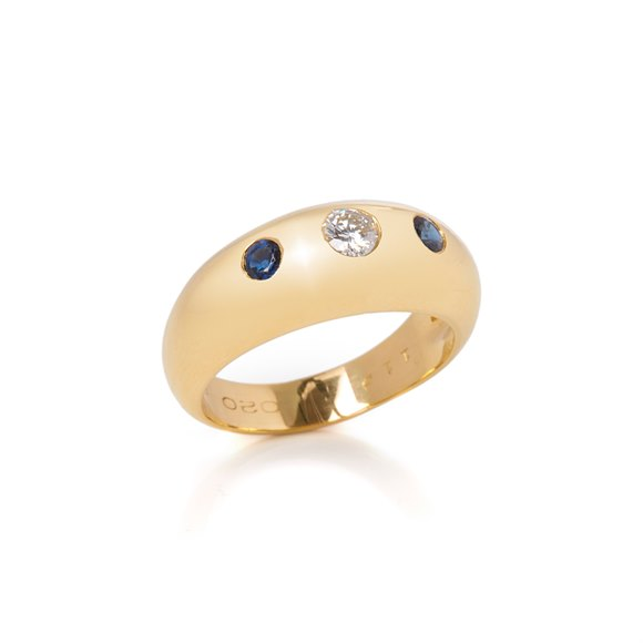 Cartier 18k Yellow Gold Sapphire & Diamond Gypsy Ring