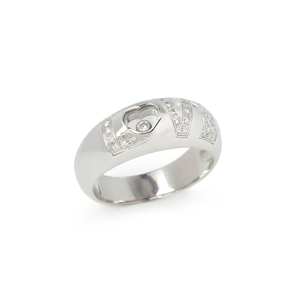 Chopard 18k White Gold Happy Diamonds Love Ring Size T