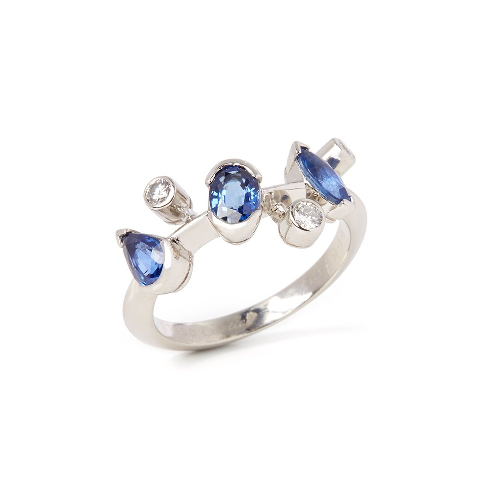 Cartier Platinum Sapphire & Diamond Meli Melo Ring
