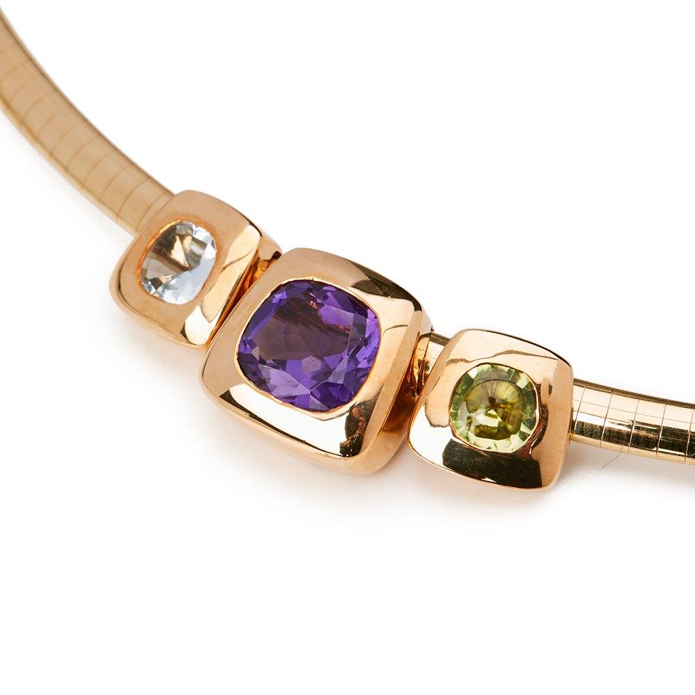 Chanel 18k Yellow Gold Amethyst Peridot Baroque Necklace
