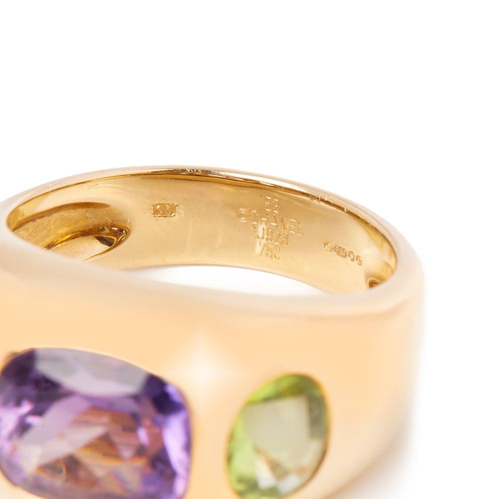 Chanel 18k Yellow Gold Amethyst Peridot Baroque Ring