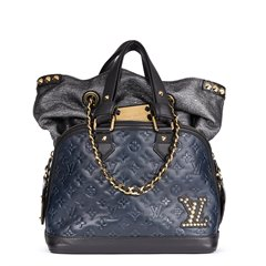 Louis Vuitton Blue & Black Monogram Embossed Calfskin Leather Double Jeu Neo-Alma