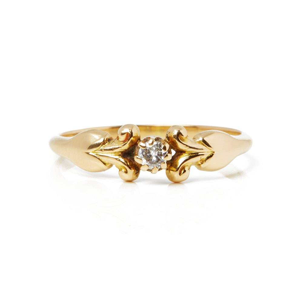 Georg Jensen 18k Yellow Gold Diamond Vintage Ring