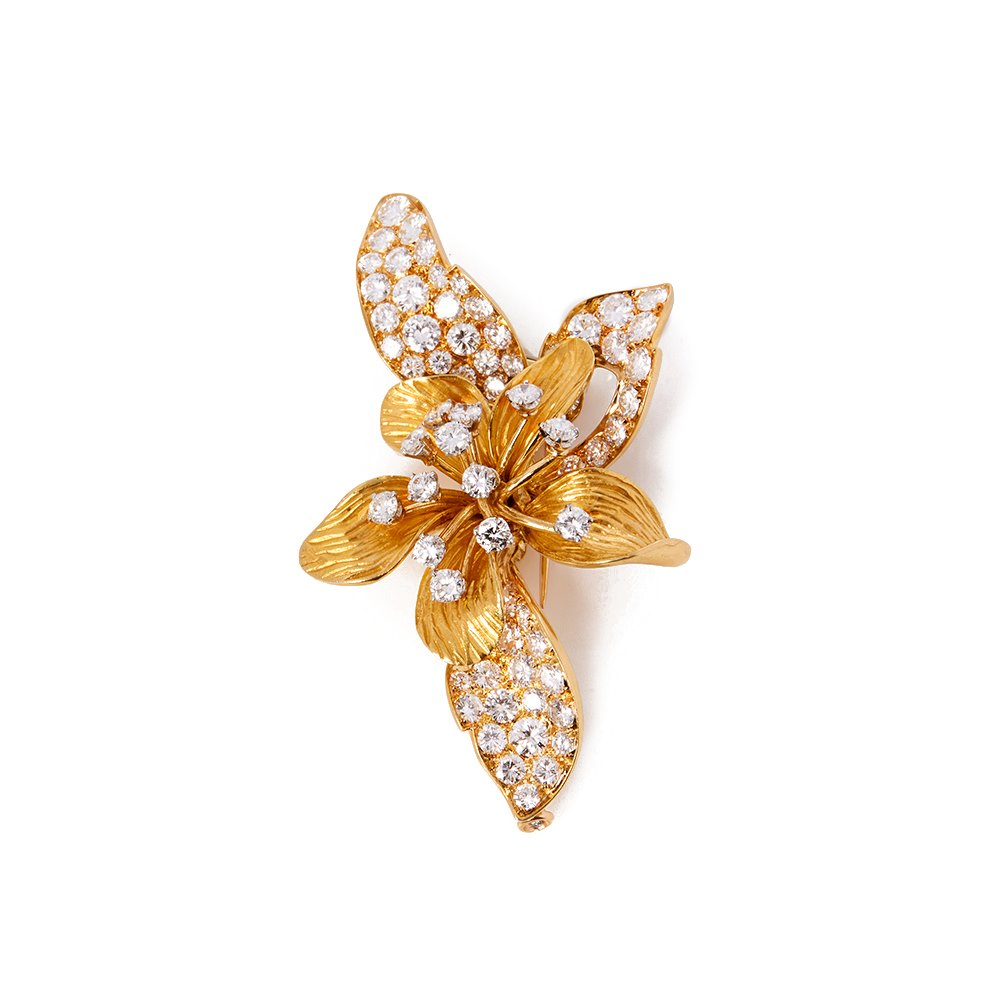 18k Yellow Gold Diamond Vintage Orchid Brooch