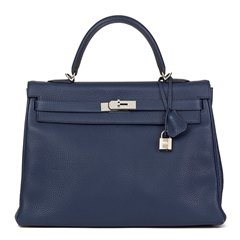 Hermès Bleu Saphir Togo Leather Kelly 35cm Retourne