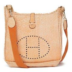 Hermès Orange Dalmatian Buffalo Leather Evelyne I PM
