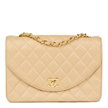 Chanel Beige Quilted Lambskin Vintage Classic Single Flap Bag