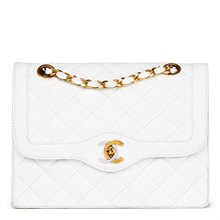 Chanel White Quilted Lambskin Vintage Small Paris Limited Double Flap Bag