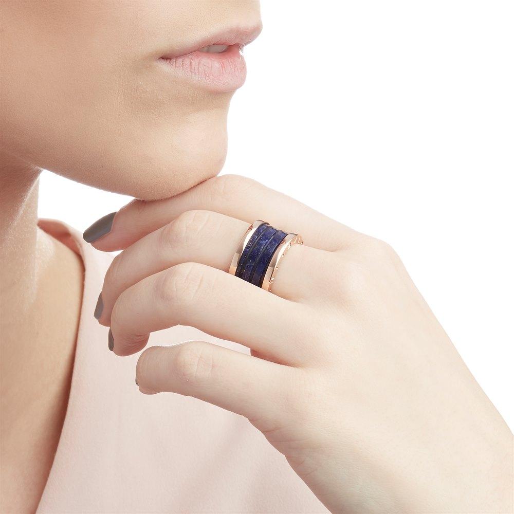 Bulgari 18k Rose Gold Lapis Lazuli B.Zero1 Ring