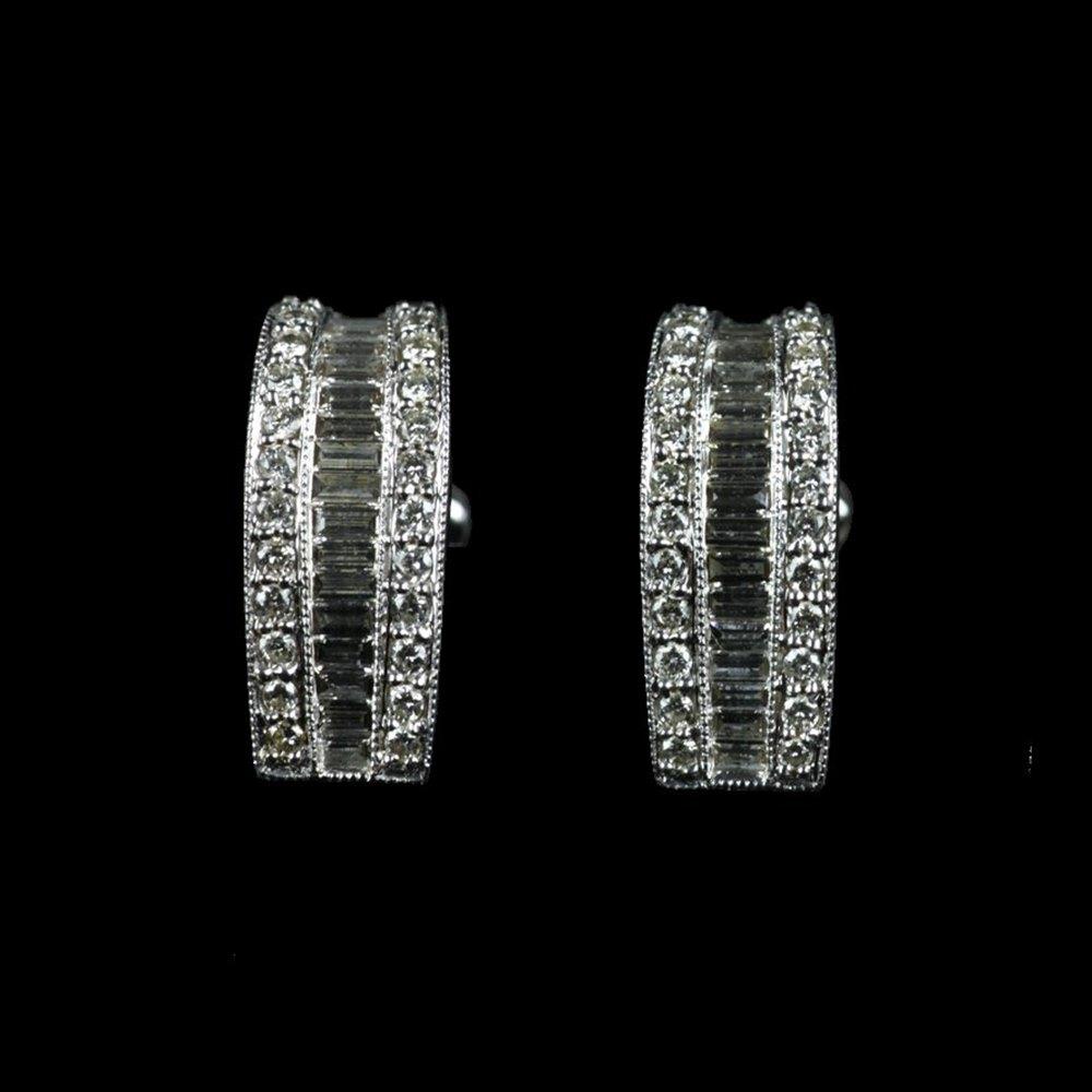 White Gold Baguette Diamond Earrings