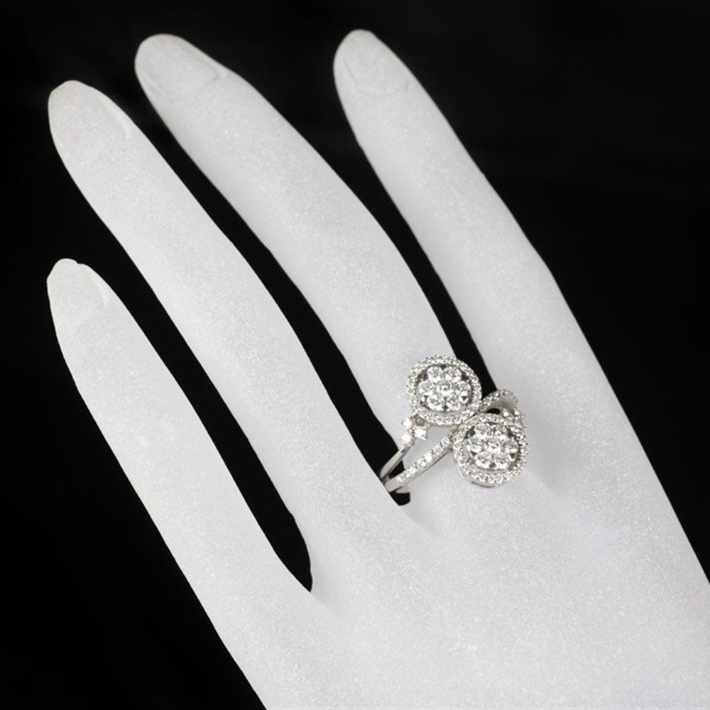 Diamond Double Cluster Styled Ring